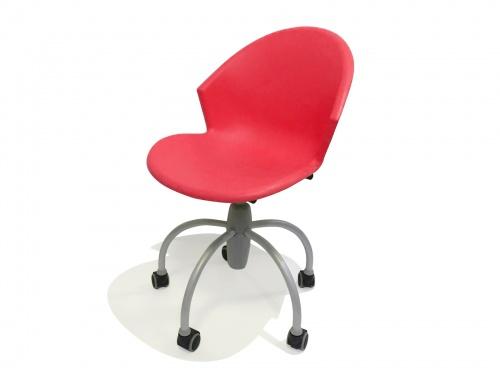 Sedia comoda e moderna in plastica su ruote gommate modello Gim Rossa