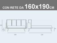Misure del letto Noctis Birdland con rete a doghe da 160x190cm