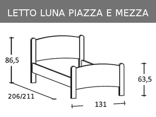 Misure del letto a una piazza e mezza in legno massello Luna