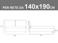 Letto alla francese Noctis So Pop con rete a doghe da 140x190cm