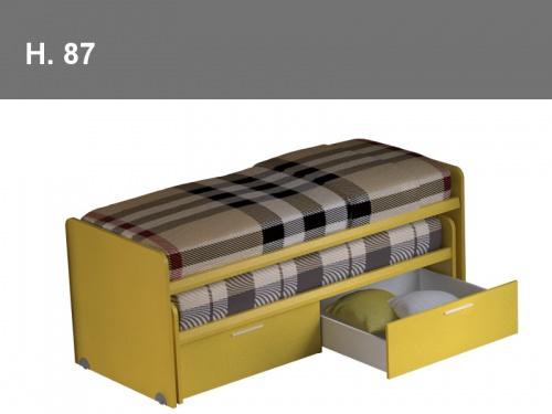 Due letti che scorrono uno dentro l altro con la possibilità di attrezzare il letto inferiore con cassetti Pitagora
