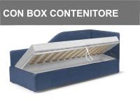 Letto imbottito a divanetto con angolo sagomato in versione con contenitore Noctis Space in promozione