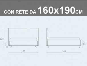 Misure del letto Bob Capitonnè matrimoniale contenitore con rete a doghe da 160x190cm