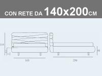 Misure del letto matrimoniale alla francese Noctis Andy con rete a doghe da 140x200cm