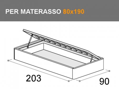 Misure del letto Sommier con contenitore dream, per materasso da 80x190cm