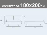 Misure del letto matrimoniale imbottito XL con contenitore e rete a doghe da 180x200cm Noctis Phill Capitonnè