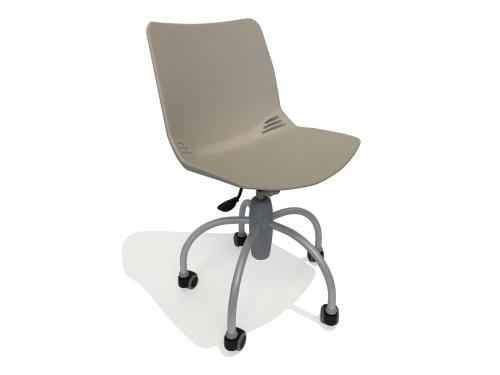 Sedia in plastica su ruote con sedile regolabile in altezza modello Baby Grigia