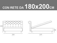 Misure del letto matrimoniale imbottito King Size Noctis Paris con rete a doghe da 180x200cm