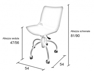 Misure della sedia in plastica su ruote Baby