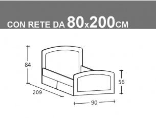 Schema letto singolo Armonia con rete da 80x200cm con cassetti