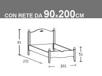 Schema letto Rondine singolo con rete da 90x200cm