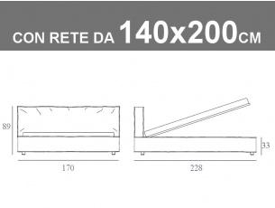 Misure del letto matrimoniale alla francese Duck con rete a doghe da 140x200