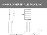 Misure del Singolo girevole verticale con tavolo basculante