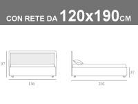 Misure del letto da una piazza e mezzo Noctis Smart con rete a doghe da 120x190cm