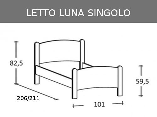 Misure del letto singolo in massello modello Luna