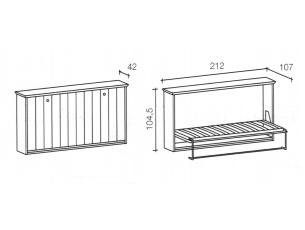 misure del letto a ribalta singolo in legno massello