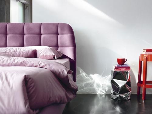 Testata del letto imbottito matrimoniale contenitore Noctis Larry con rete a doghe, in foto in tessuto in categoria A Nord Wool 001