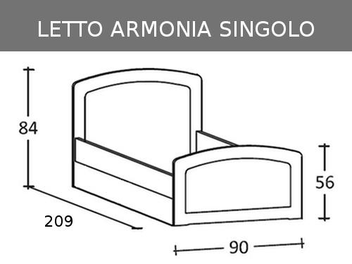 Misure del letto singolo Armonia in legno massello con rete a doghe e seconda rete estraibile