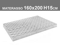 materasso 160x200 h.15cm in poliuretano espanso con rivestimento trapuntato