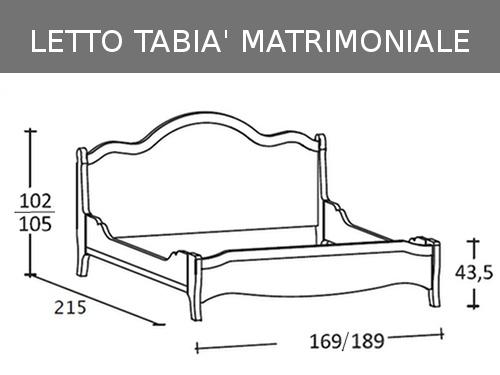 Schema misure del letto matrimoniale Scandola Tabià