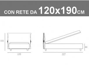 Misure del letto piazza e mezza con cuscino imbottito Noctis Eden da 120x190cm