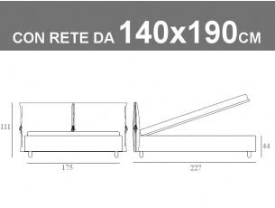 Misure del letto alla francese Noctis Eden con rete a doghe da 140x190cm