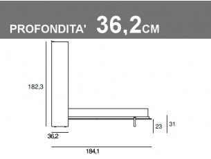 Misure del letto matrimoniale orizzontale Gemini profondità 36,2cm