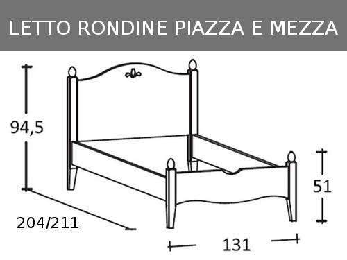 Schema delle misure del letto Rondine piazza e mezza
