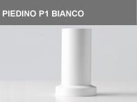 Piedino in legno P1 arrotondato con base piatta h.6cm, colore Bianco