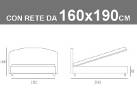 Misure del letto imbottito matrimoniale Noctis Jazz con rete a doghe da 160x190cm