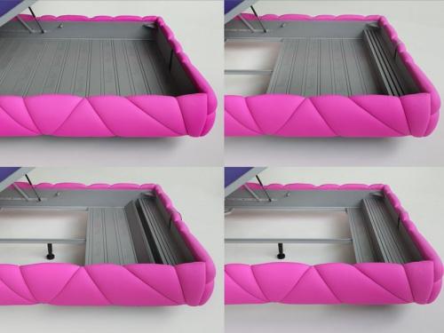 Particolare del letto contenitore Noctis Marvin con sistema Folding Box esclusivo metodo per pulire sotto al letto contenitore