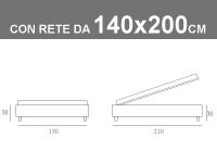 Misure del letto Sommier alla francese di Noctis con rete a doghe da 140x200cm