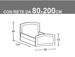 Schema letto singolo Armonia con rete da 80x200cm con seconda rete estraibile