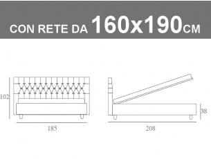 Misure del letto matrimoniale Noctis Dizzy capitonnè con contenitore e rete da 160x190cm