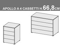 comò Apollo a 4 cassetti, altezza totale 66,8cm