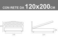 Misure del letto piazza e mezza Noctis Dream Capitonè con rete a doghe da 120x200cm