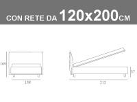 Misure del letto piazza e mezza Noctis Manuel con contenitore da 120x200cm