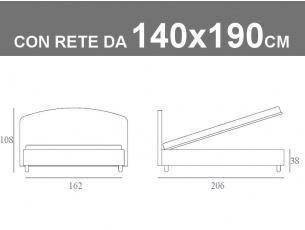 Misure del letto Jazz Noctis contenitore alla francese da 140x190cm
