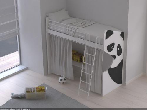 Letto a castello personalizzabile con sticker con un solo letto e spazio libero sotto