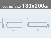 Misure del letto matrimoniale XL con rete a doghe da 180x200cm Noctis Doxy contenitore