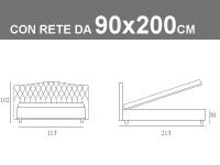 Misure del letto singolo imbottito Noctis Dream Capitonè con rete da 90x200cm