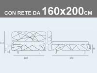 Misure del letto Noctis Marvin matrimoniale imbottito con rete a doghe da 160x200cm