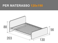 Letto da una piazza e mezza Giotto con testata alta e rete a doghe per materasso da 120x190cm