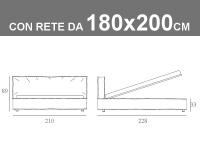 Misure del letto Noctis Duck matrimoniale King Size da 180x200cm