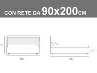 Misure del letto singolo Noctis Smart con box contenitore, testata bicolore e rete a doghe da 90x200cm