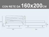 Misure del letto matrimoniale contenitore Noctis Andy con rete a doghe da 160x200cm