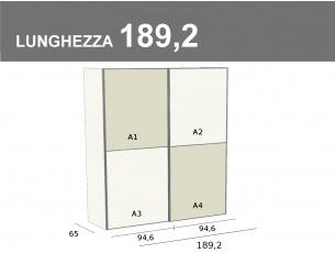 Armadio scorrevole da 189,2 cm