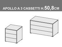 comodini Apollo a 3 cassetti, altezza totale 50,8cm