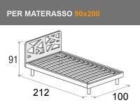Letto singolo con rete a doghe per materasso da 90x200cm modello Sound