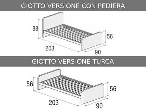Misure del letto singolo con seconda rete estraibile modello Giotto di Doimo Cityline